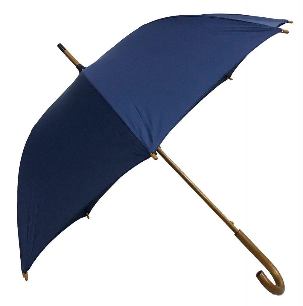 Guarda-chuva de 1.20 de diâmetro, automático com vara e cabo de madeira  com tecido nylon resinado